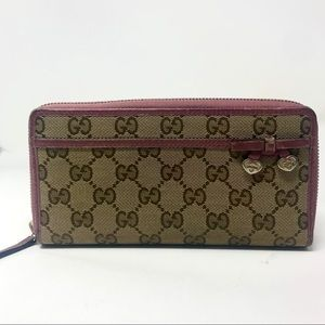 Gucci Zippy Wallet in GG Canvas & Purple Leather
